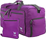 "Bago Duffle Bag For Travel Luggage Gym Sport Camping – Lightweight Foldable Into Itself Duffel (Medium 22"", Purple)"