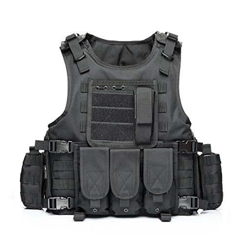 YAKEDA® Ventilatori Army Tactical Vest Cs campo Swat Tactical Vest dell'esercito all'aperto Vest Cs gioco Vest Cosplay di Counter Strike gioco Vest-322 (Nero)