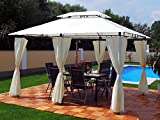 Garten Pavillon 3x4m, Groten Luxus Hochwertiges Wasserdicht Polyester Gartenzelt mit 6 Vorhängen für Party und Oktoberfest Farbwahl (Beige)