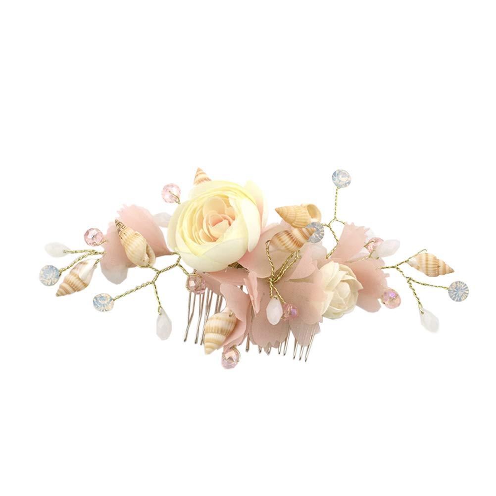 Lurrose Peinetas nupciales del pelo, peine del pelo de la boda, flor de hilado de seda de la cáscara