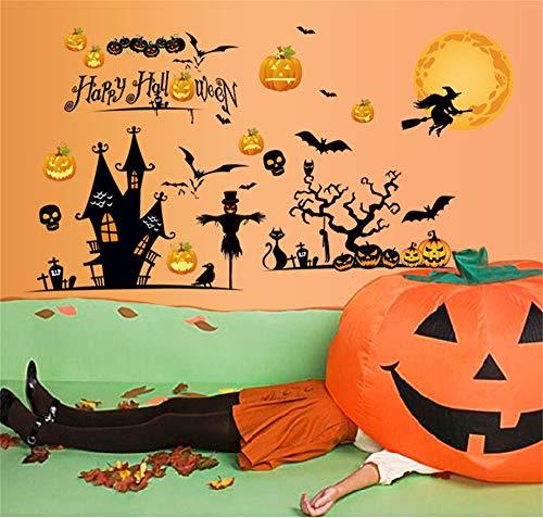 Halloween Wandaufkleber Horror Atmosphäre Dekorationen Cartoon Kürbis Bat Hexe Aufkleber Fenster Aufkleber Tür Aufkleber