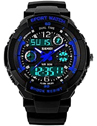 Jugendliche Kinderuhren | Digital Uhren für Kinder Jungen | Wasserdicht Outdoor Sports Digitaluhren Analog Armbanduhr mit Wecker/Timer / LED-Licht (Schwarz Blau)