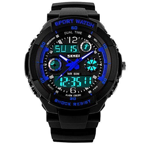 Jugendliche Kinderuhren   Digital Uhren für Kinder Jungen   Wasserdicht Outdoor Sports Digitaluhren Analog Armbanduhr mit Wecker/Timer/LED-Licht (Schwarz Blau)