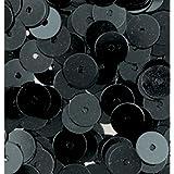 Efco Fil plat rond paillettes, noir, 6mm, 10g, Lot de 1000bâtonnets