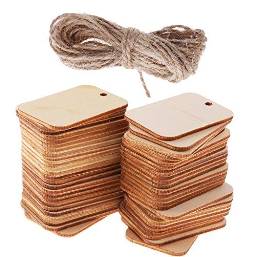 Baoblaze 50pcs Etiquettes en Bois Inachevées Etiquettes en Bois avec Cordon Orenement de Cadeau Accrochant pour Mariage Décor de Vin