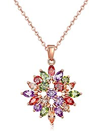 Jewels Galaxy Crystal Elements Sparkling Colors 18K Rose Gold Plated Floral Designer Splendid Pendant For Women...