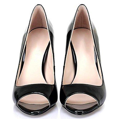 W&LMScarpe di bocca di pesce sandali Aprire il piede Tacco alto Bocca poco profonda Scarpe singole Scarpe da donna professionali black 12cm