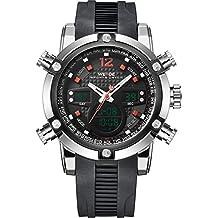 Weide - Reloj de pulsera para hombre (correa de goma, indicador digital y analógico, movimiento de cuarzo), color rojo
