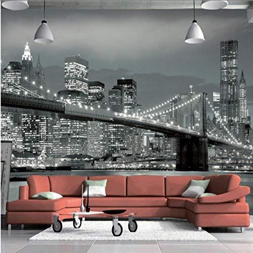 Mgdtt Fototapete New York Bridge Hängebrücke Architektur Nachtsicht Tv Hintergrundbild Wohnzimmer Benutzerdefinierte Tapete-350X250Cm -