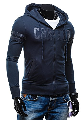 BOLF - Felpa con cappuccio - Jumper – Con cerniera – con la scritta - NATURE 3193 - Uomo Blu scuro