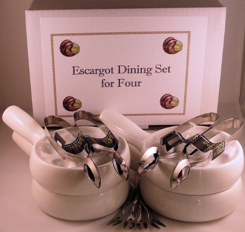 Snail, Escargot, Dining Set for FOUR people consisting of four 6 hole vitrified porcelain snail dishes / plates with handles and four stainless steel Snail Tongs and Snail Forks. All you need in one money saving pack to enjoy your escargots! by Bonzza Snail Dish