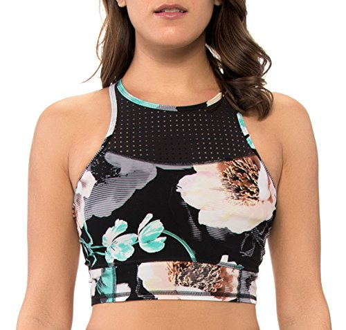 Body Glove Damen Bloom Vibe High Neck Crop Sports Bra Bikini, Schwarz, S