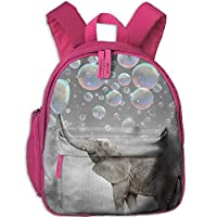 Elephant Blowing Bubbles Double Zipper Waterproof Children Schoolbag Backpacks with Front Pockets for Youth Boy Girl