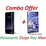 RidivishN Crystal Clear Premium Soft Silicone Back Case Cover For Panasonic Eluga Ray Max+Premium Tempered Glass screen Protector(Transparent)(Combo)