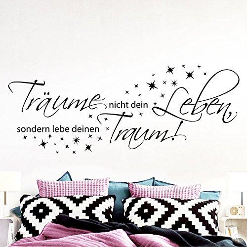 Grandora Wandtattoo Spruch Träume Nicht Dein Leben + Sterne II Schlafzimmer Sticker Aufkleber Wandaufkleber Wandsticker W5374