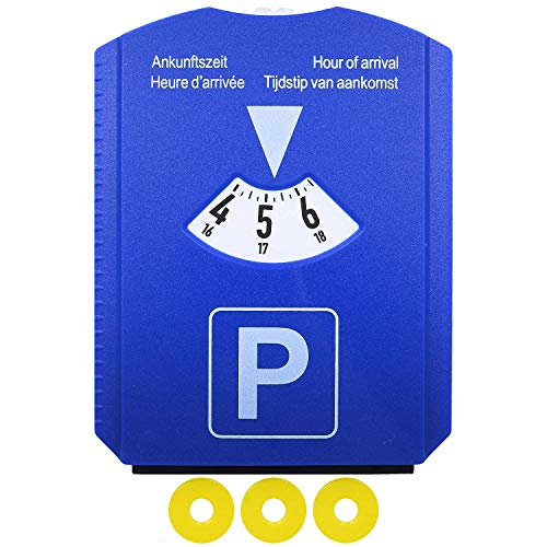 M&H-24 Parkscheibe Parkuhr Auto mit Eiskratzer und 3 Einkaufswagenchip Blau Europa Zulassung, 1 Stück