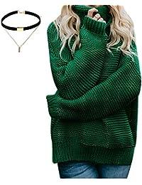 wenyujh Damen Strickpullover Sweater Sweatshirt Oversize Hohe Kragen  Pullover Strickpulli Locker Asymmetrisch Herbst Frühling mit Choker e1afa09bf7