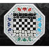 Preisvergleich für Gifts And Artefacts 33cm weiß Octagon Marmor Tisch Top Chess Game Tisch mit Kaffee Tisch Top