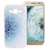 Galaxy J5 2015 Hülle Blumen, ZXK CO Transparent Halb Blauen Mandala Blüten Muster Transparent Ultra Dünne TPU Silikon Handy Hülle Etui Kratzfeste Stoßfeste Case Cover für Samsung Galaxy J5 2015