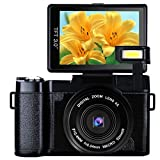 Digital Camera Camcorder Full HD 1080p 24.0MP Vlogging Camera 3.0 Inch Flip Screen Camcorder Camera with Retractable Flashlight