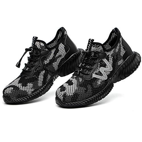 Nuovo Estate Scarpe Antinfortunistica Traspirante con Punta in Acciaio, Sneaker da Lavoro Cantiere per Uomo Donna, Antinfortunistiche di Sicurezza Antiscivolo Unisex