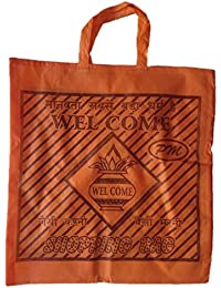 """PM Welcome Non Woven Shopping Bag (SIZE: 15"""" X 15""""-Inches) Orange - 24 Pcs."""
