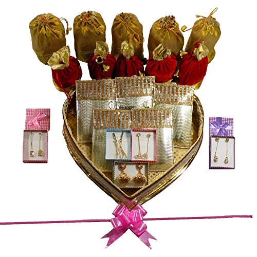Bagaholics Golden Heart Shape Box Gift Hamper :Wedding Gift / Return Gift / Gifting ideas / Gift For Women / Ladies Gift - The perfect Wedding Gifting in Gold Gift Box
