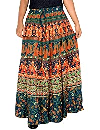 140e37462cf Rajvila Ethnic Style Cotton Elastic Band Skirt Elastic Skirt Size 4XL Blue  Colour 38 Inch Length