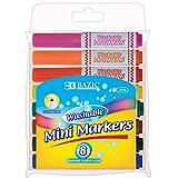 Bazic Mini Premium Washable Markers, Assorted Colors, 8 per Pack (Case of 24)