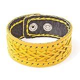 PAPAYANA T058-GE Leder-Armband Manschette mit Kreuznaht Echtleder Damen Herren Verstellbar Gelb