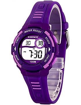 Moderne digitale XONIX Multifunktions Armbanduhr für Damen und Kinder WR100m, D63WN56K8/2