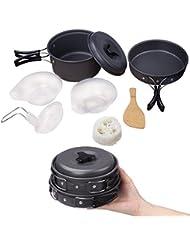 Utensilios Cocina Camping,Diealles Set Cocina Camping para Excursión, Acampada, Senderismo, Adecuado para 1-2 Personas