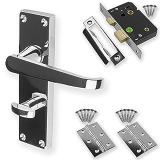 Chrome Door Handle Set Pack Latch Lock Bathroom Privacy Straight New (Bathroom)