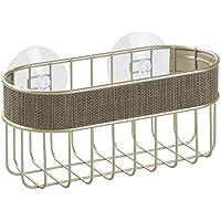 InterDesign Twillo Cesta de ducha con ventosas | Cesta de baño inoxidable para ducha y bañera | Estanterías de baño sin taladro | Metal color champán