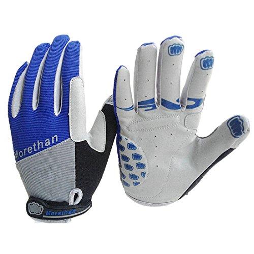Yihengya yihya traspirante anti-scivolo antiurto bici della ciclismo mtb bicicletta del motociclo silicone gel completa finger guanti equitazione gloves per sport esterni - blu - m