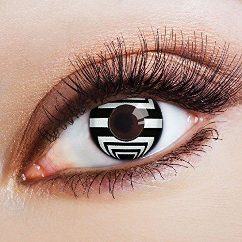 aricona Farblinsen Manga & Anime Kontaktlinse Black & White -Deckende,farbige Jahreslinsen für dunkle und helle Augenfarben ohne Stärke,Farblinsen für Cosplay,Karneval,Fasching,Halloween Kostüme