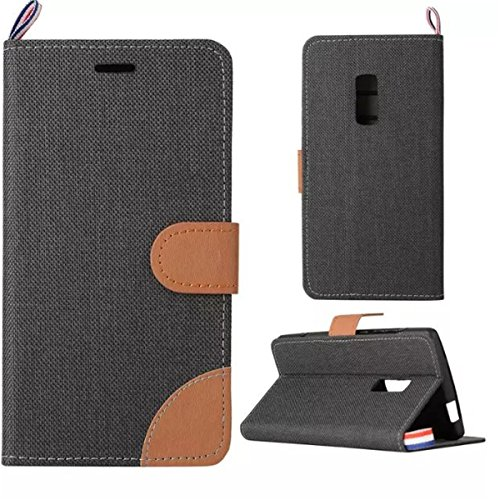 OnePlus Two Hülle Case,Gift_Source [Card Slot] [Slim Fit] [Kickstand Feature] Double Color Stitching Jeans Grain PU Leder Hülle Case Folio Flip Hülle Case Cover Mit Strap für OnePlus Two / OnePlus 2 [schwarz]