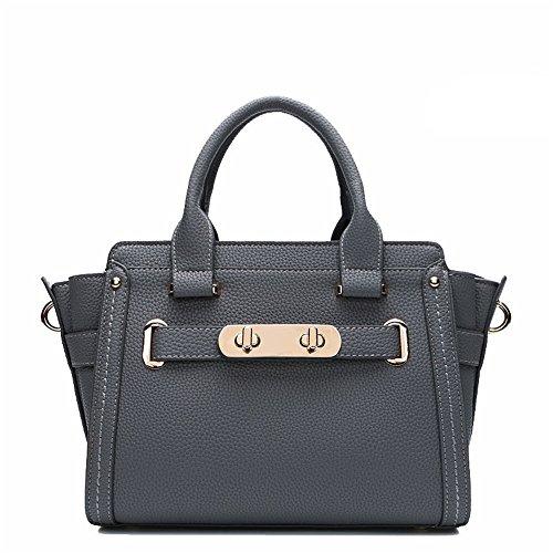 Kieuyhqk Damen Lychee Crossbody Handtasche Umhängetasche Lässige Mode Vielseitige Handtasche Kissenbeutel Damen Casual Handtasche Schulter-Handtasche (Farbe : Grau)