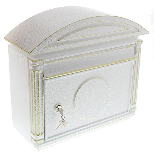 BURG-WÄCHTER, Briefkasten im südländischen Stil, A4 Einwurf-Format, Alu-Guss, Venezia 1899 W, Weiß