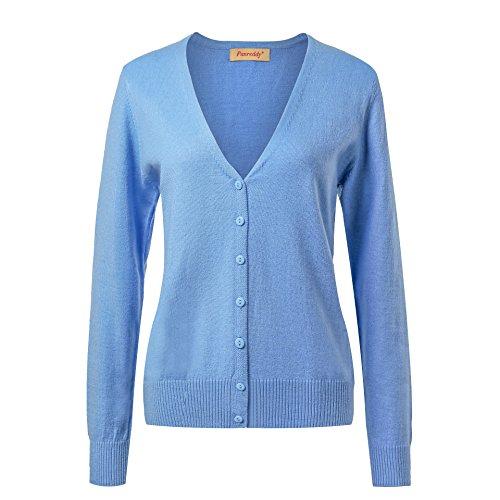Panreddy Women's Wool Cashmere Classic V Cardigan Sweater Sky Blue M