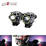 #10: AllExtreme U7 (Mini) LED Fog Light Bike Driving DRL Fog Light Spotlight, High/Low Beam, Flashing-With White Angel Eyes Light Ring (Pack Of 2)