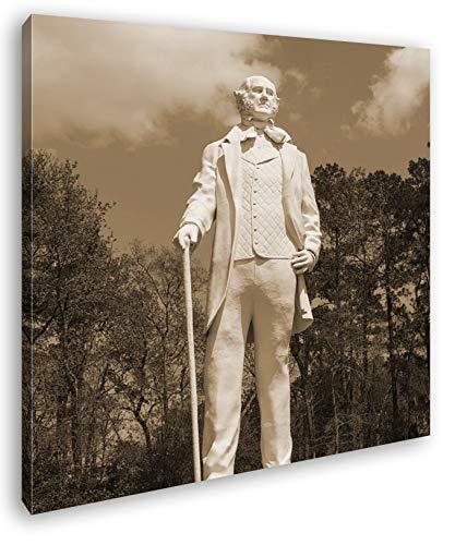 Statur des Sam Houston Format: 40x40 Effekt: Sepia als Leinwandbild, Motiv auf Echtholzrahmen, Hochwertiger Digitaldruck mit Rahmen, Kein Poster oder Plakat -