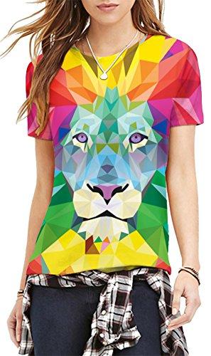 EmilyLe Femme T-Shirt de Sport à Manches Courts avec Motifs Top de Jogging Fitness Col Rond Lion Multicolore