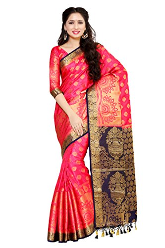 Mimosa By Kupinda Women\'s Art Silk Saree Kanjivaram Style Color: Strawberry (4051-241-2D-Strw-Nvy)
