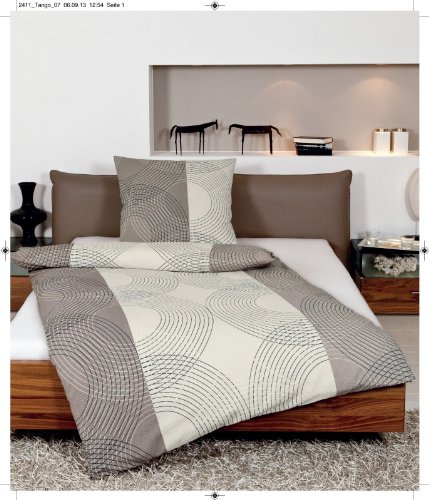 Janine Design Seersucker Bettwäsche Tango 2411-07 Taupe 1 Bettbezug 135 x 200 cm + 1 Kissenbezug 80 x 80 cm