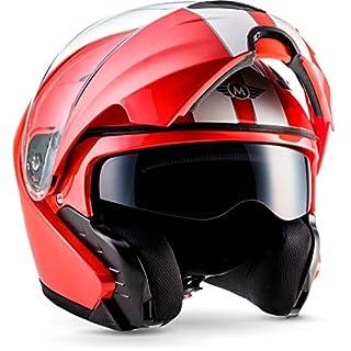 "MOTOHelmets® F19 ""Racing Red"" · Motorrad-Helm · Klapp-Helm Modular-Helm Flip-up Integral-Helm Motorrad-Helm Roller-Helm Full-Face Scooter-Helm · ECE Sonnenvisier Schnellverschluss Tasche XL (61-62cm)"