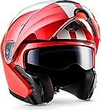 "MOTO · F19 ""Racing Red"" (Rot) · Modular-Helm · Scooter Klapp-Helm Flip-up Motorrad-Helm Integral Roller · ECE certified · Separate Visors · Click-n-Secure Clip · Tragetasche · XL (61-62cm)"
