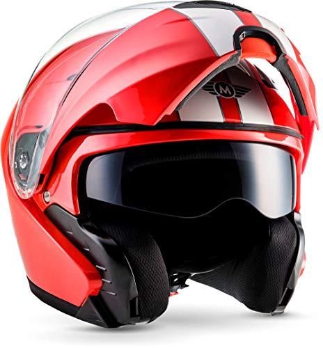 "Moto Helmets® F19 ""Racing Red"" · Motorrad-Helm · Klapp-Helm Modular-Helm Flip-up Integral-Helm · ECE Sonnenvisier Schnellverschluss Tasche M (57-58cm)"