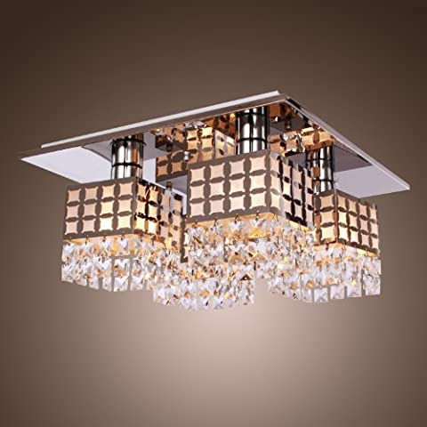 Saint Mossi moderne Chic Flush Mount Crystal Plafonnier pour salon,Chambre Luminaire bureau,salle à manger,à Gein Pattern avec 4 E27 bulbe,H10