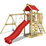 WICKEY Spielturm MultiFlyer Kletterturm Spielplatz Garten mit Schaukel, Rutsche und Kletterwand, rote Rutsche + rote Plane